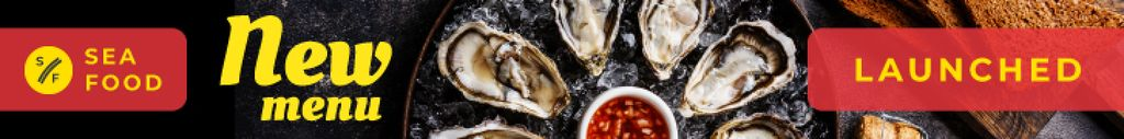 Seafood Menu Fresh Oysters on Plate Leaderboard Design Template