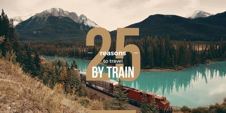 Train travel advantages with mountain landscape Twitter Modelo de Design