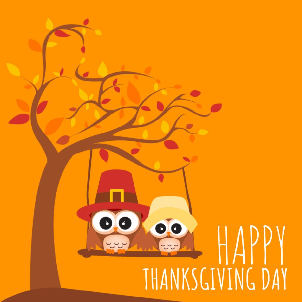 Thanksgiving with Pilgrim Owls Swinging on Autumn Tree — Modelo de projeto