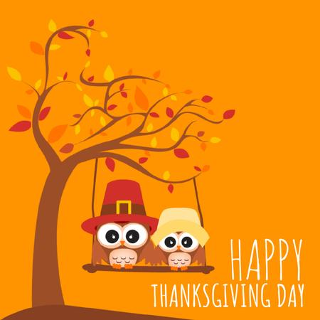 Thanksgiving with Pilgrim Owls Swinging on Autumn Tree Animated Post Tasarım Şablonu