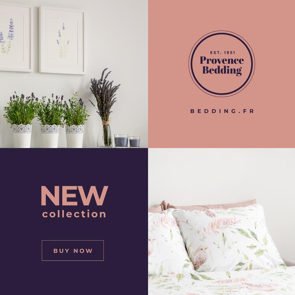 Designvorlage Bedding Textile Offer Cozy Bedroom Interior für Instagram AD