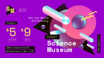 Science Museum Invitation Digital Pattern in Purple | Facebook Event Cover Template