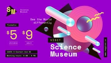 Science Museum invitation Digital Pattern in Purple