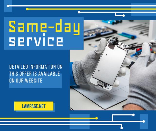 Phone Service Promotion Engineer Assembling Parts Facebook Modelo de Design