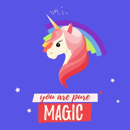 Designvorlage Unicorn With Bright Rainbow für Animated Post