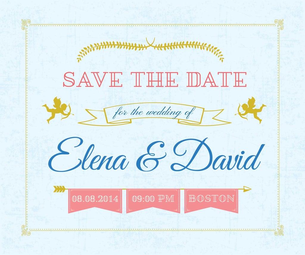 Save the Date Decorative Frame with Cupids — Создать дизайн