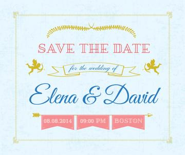 Save the Date Invitation Decorative Frame with Cupids | Facebook Post Template