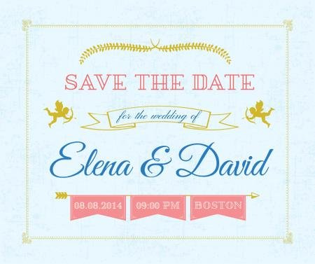 Modèle de visuel Save the Date Decorative Frame with Cupids - Facebook