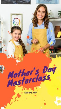 Mother's Day Sale Teacher and Girl Painting Instagram Story Modelo de Design