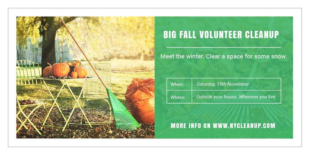 Volunteer Cleanup Announcement Autumn Garden with Pumpkins | Twitter Post Template — Modelo de projeto