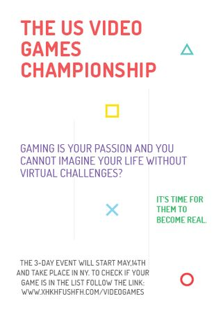 Ontwerpsjabloon van Flayer van Video Games Championship announcement