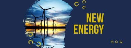 Renewable Energy Wind Turbines Farm Facebook cover Design Template