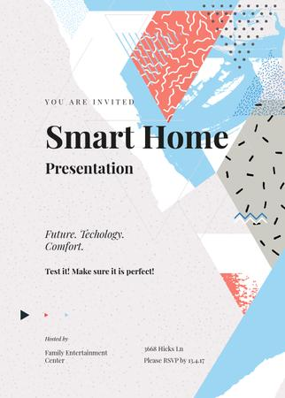 Smart Home Presentation announcement on memphis pattern Invitation Tasarım Şablonu