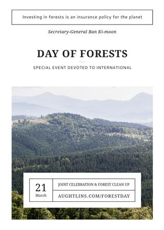 Plantilla de diseño de International Day of Forests Event Scenic Mountains Flayer