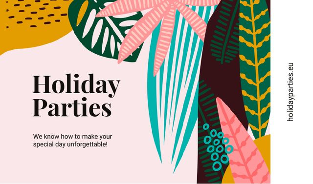 Plantilla de diseño de Parties Organization with Leaves in Tropical Forest Business card