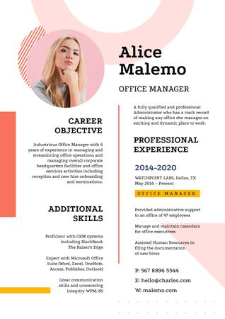 Financial Manager professional profile Resumeデザインテンプレート