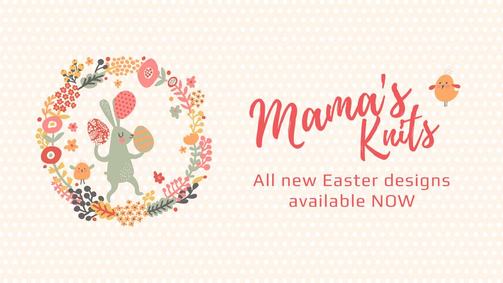 Easter Offer Bunny with Colored Eggs in Flowers Frame  | Full Hd Video Template — Crea un design