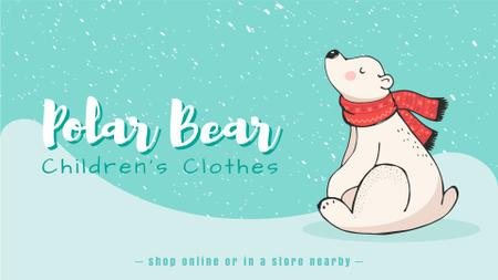 Polar Bear in Scarf Sitting Under Snow Full HD video Modelo de Design