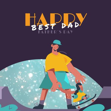 Plantilla de diseño de Father with Daughter skateboarding on Father's Day  Animated Post