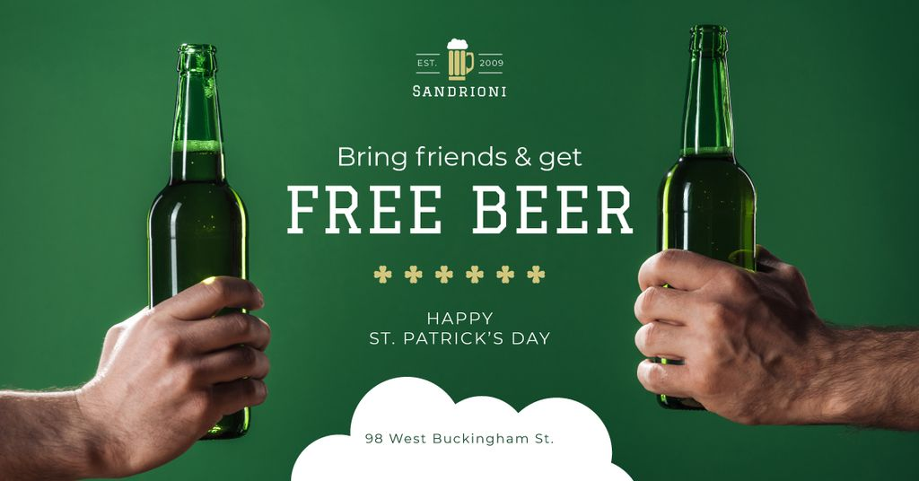 Special Offer on St.Patricks Day with friends holding Beer — Maak een ontwerp