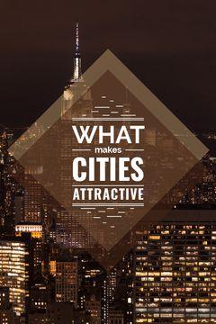 City Guide Night Skyscraper Lights
