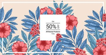Beauty Products Offer Line Frame with Flowers | Facebook Ad Template