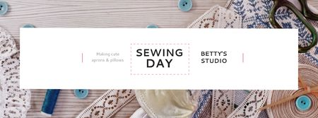 Plantilla de diseño de Sewing day event Facebook cover