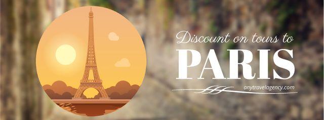 Travelling to Paris icon Facebook Video cover Modelo de Design