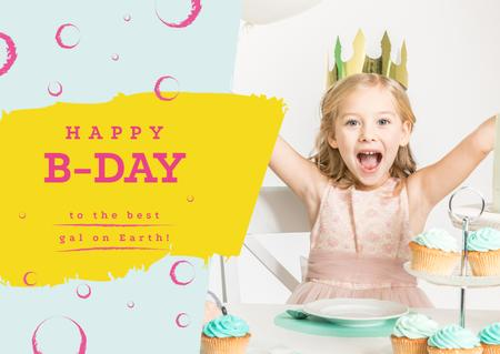 Little girl celebrating birthday Card Modelo de Design
