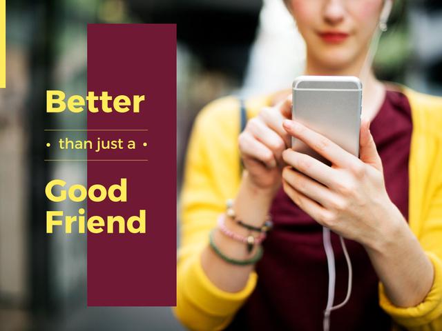 Modèle de visuel Modern Technology Quote Woman Using Smartphone - Presentation