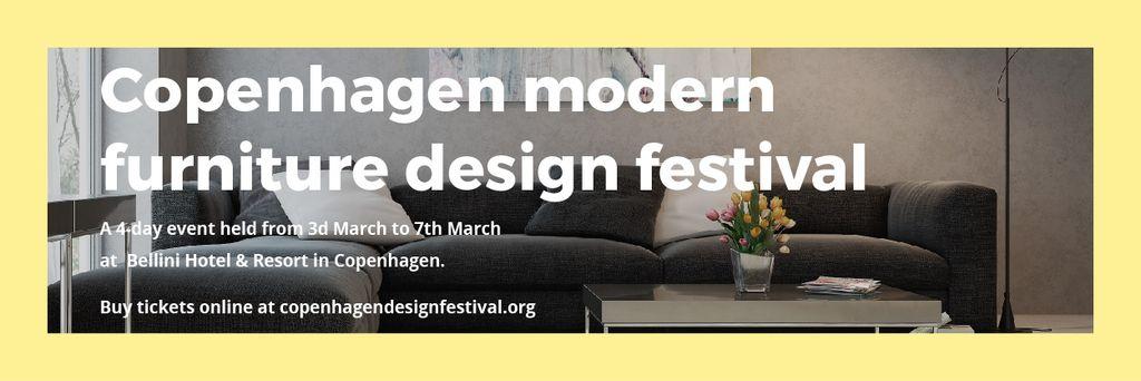 Interior Decoration Event Announcement with Sofa in Grey — Maak een ontwerp