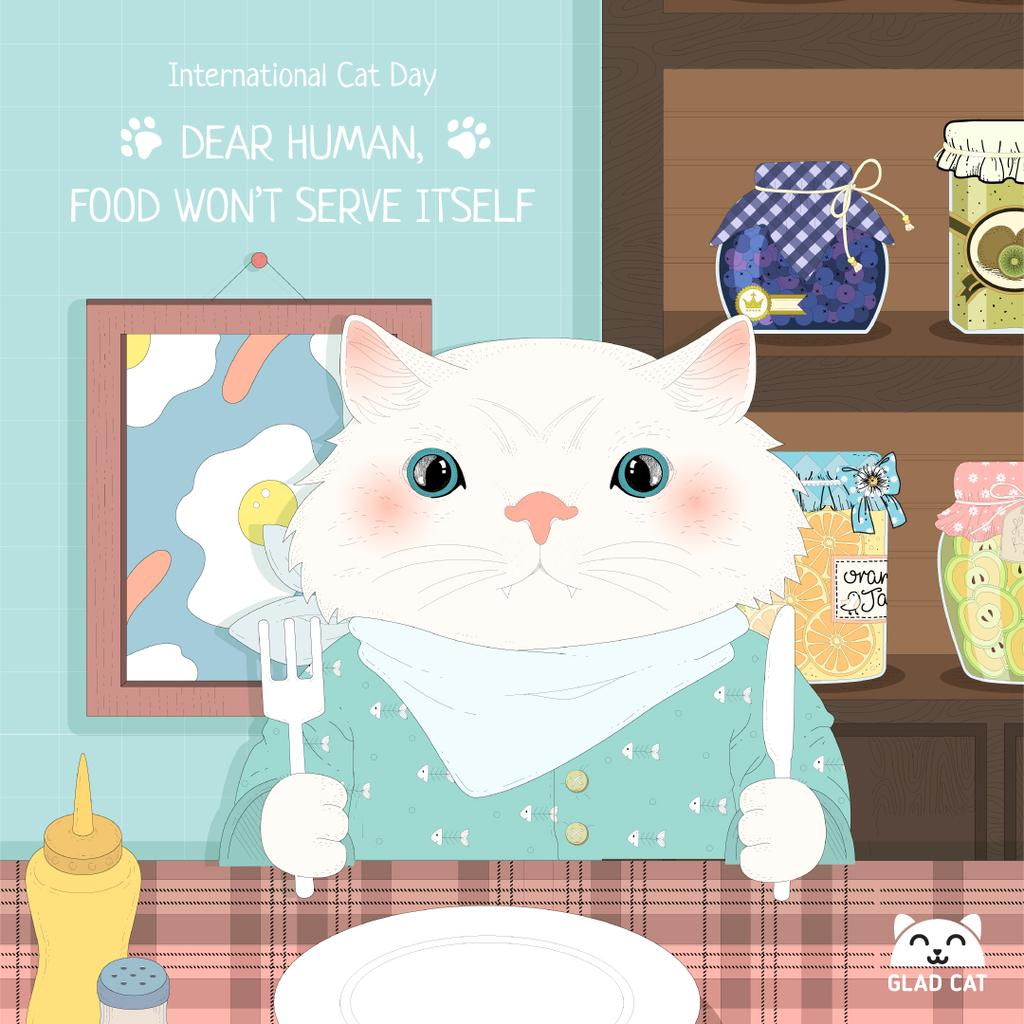 Cute Kitty at a table on International Cat Day — Crea un design