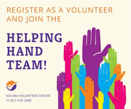 Volunteering team poster Large Rectangle – шаблон для дизайна