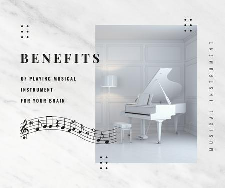 White grand Piano instrument Facebookデザインテンプレート