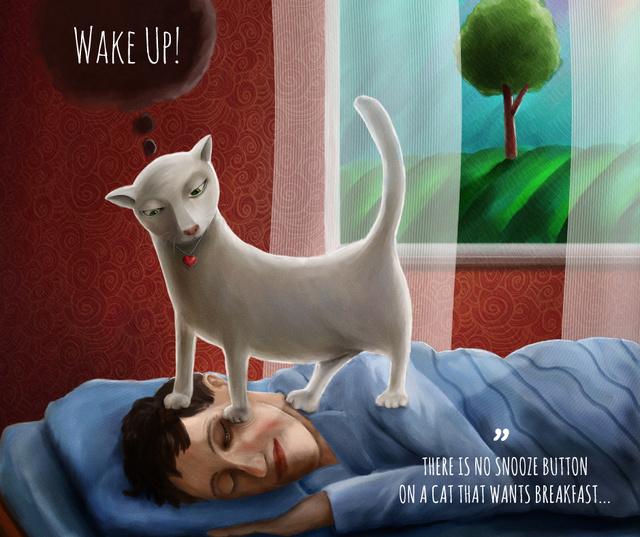 Cat standing on Sleeping Man Facebook Design Template