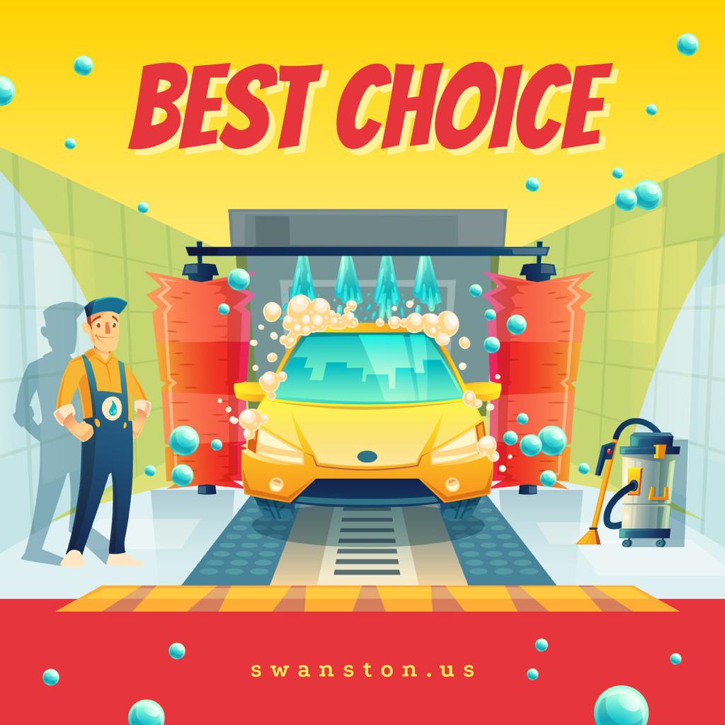 Worker by Car at auto wash — Maak een ontwerp