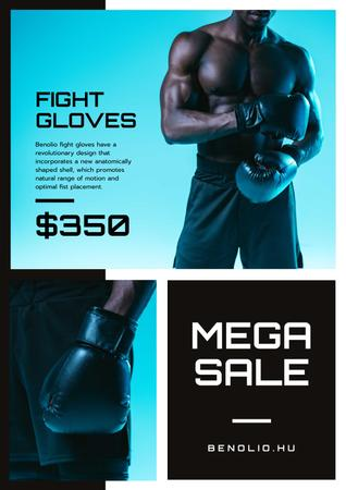 Plantilla de diseño de Fight Gloves Sale with athletic Man Poster
