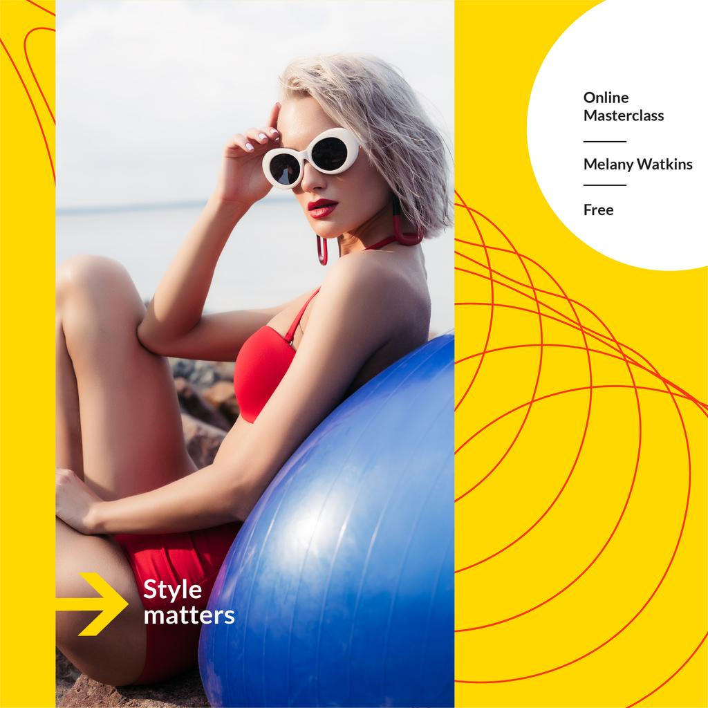 Style Masterclass announcement with Woman in Bikini —デザインを作成する