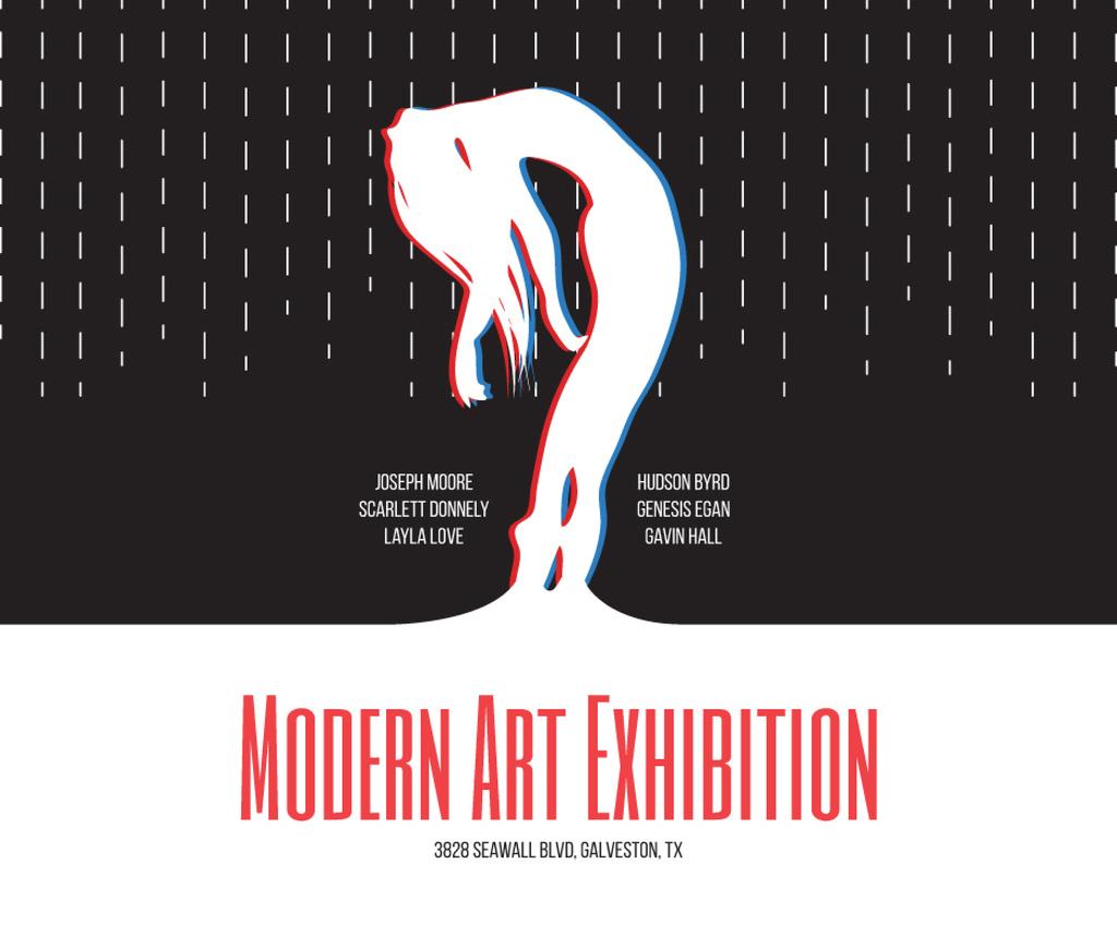 Modern Art Exhibition announcement Female Silhouette Facebookデザインテンプレート