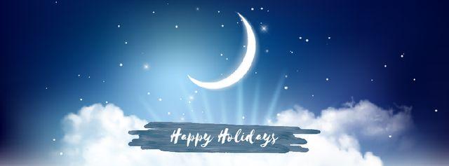 Plantilla de diseño de Shiny moon in night sky Facebook Video cover