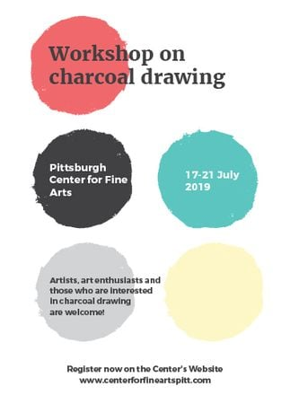 Designvorlage Charcoal Drawing Workshop colorful spots für Invitation