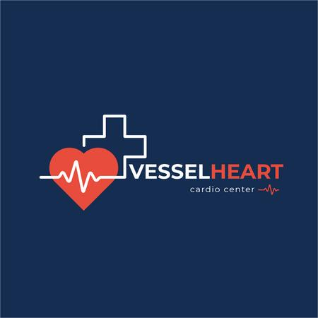 Cardio Center with Heartbeat and Cross Logo Modelo de Design