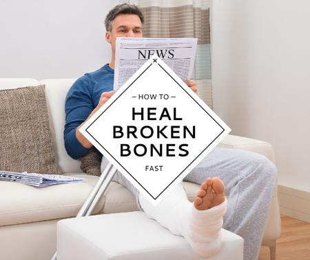 Designvorlage Man with Broken Leg reading Newspaper für Facebook