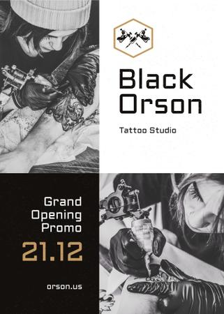 Plantilla de diseño de Tattoo Studio Ad Man Getting Tattoo in Black and White Flayer