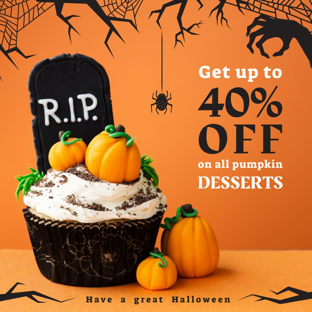Trick or Treat Sale Halloween Cupcake with Pumpkins — Create a Design