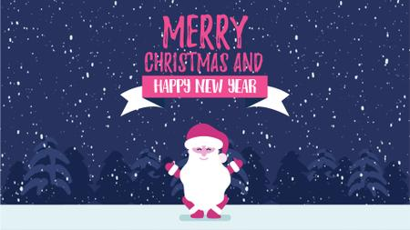 Plantilla de diseño de Christmas Greeting Funny Jumping Santa Claus Full HD video