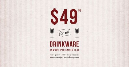 Ontwerpsjabloon van Facebook AD van Drinkware Sale Offer with Wine Glasses