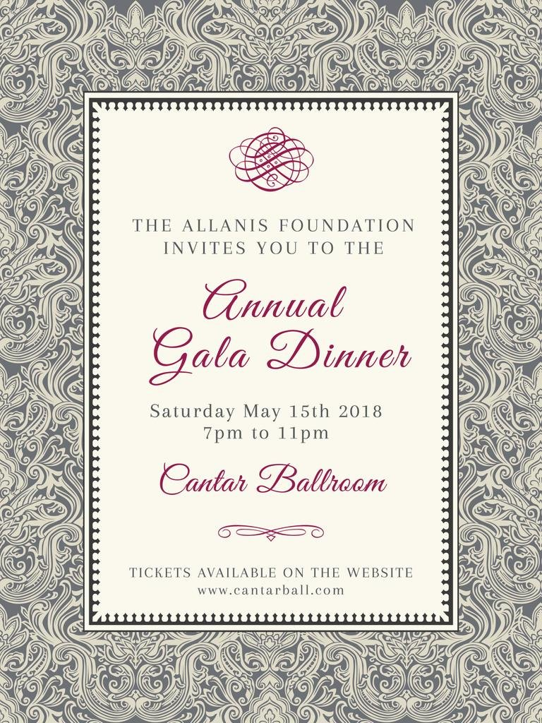 Annual Gala Dinner Announcement in Vintage Pattern — ein Design erstellen