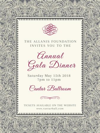 Template di design Annual Gala Dinner Announcement in Vintage Pattern Poster US