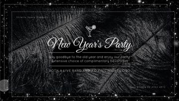 New Year's Party Invitation Black Feathers and Falling Confetti